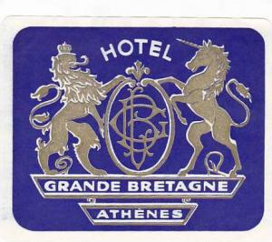 GREECE ATHENS HOTEL GRANDE BRETAGNE VINTAGE LUGGAGE LABEL
