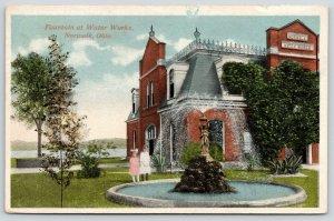 Norwalk OH~Little Girls~Old Water Works Fountain~Mansard Roof~Widow's Walk~1916