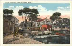 Provincetown Cape Cod MA Along the Shore c1920 Postcard