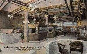 SANTA ANA, CA Orange County Savings & Trust Co. Interior c1910s Vintage Postcard