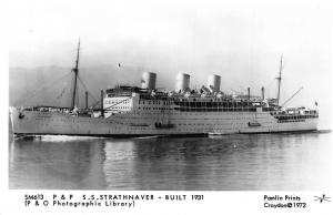 P. & O. Line SS Strathnaver ship Postcard