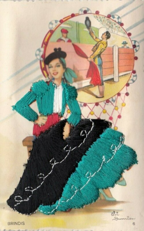 AS: SPAIN, 1950-60s; Embroidered, Woman Bull fighter, Tambourine, BRINDIS