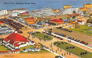 Salisbury Beach MA Aerial View Roller Coaster Linen Postcard