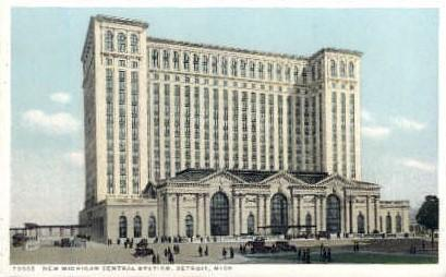 New Michigan Central Station, Detroit, Michigan, MI, USA Railroad Train Depot...