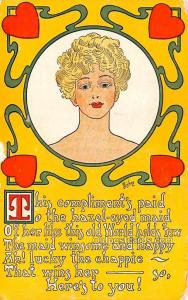 Artist Signed Post Card Compliment's Paid to the hazel eyed maid, Bishop...