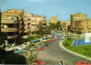 iran, TEHRAN TEHERAN, Ferdosi Square, Car Bus, SWAN Building (1970s) Stamps