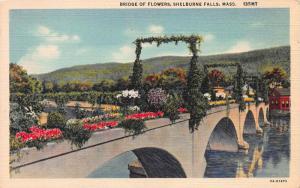 Bridge of Flowers, Shelbourne Falls, Massachusetts, Early Linen Postcard, Unused
