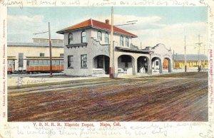 V.B.N.R.R. Electric Depot NAPA, CA Railroad Station 1907 Vintage Postcard