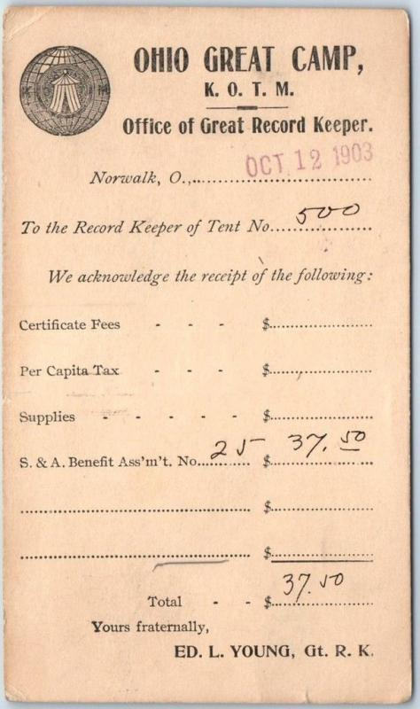 1903 Norwalk OH Postcard OHIO GREAT CAMP KOTM Knights of the Maccabees Fraternal
