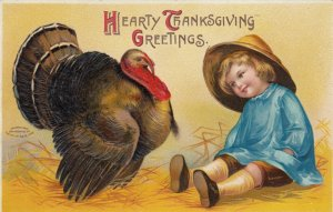 CLAPSADDLE, 1900-10s; Embossed, Little Boy and a Turkey, Hearty Thanksgiving Gre