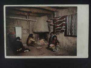 1913 AZ USA Picture Postcard Native American Indian Hopi Living Room Grand Canyo