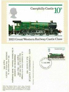 Rare PHQ Stamp Postcard Special FDI 1975 No.12c 4073 Caerphilly Castle GWR KJ3