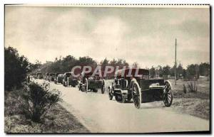 Postcard Modern Army Battery 75 tractee cars by caterpillars