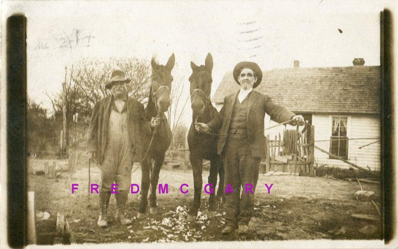 1911 Robinson IL RPPC: Two Men With Their Horses,  Mailed