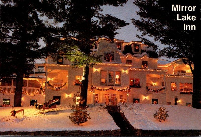 New York Adirondacks Mirror Lake Inn With Holiday Decorations