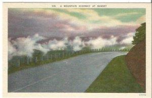 Mountain Highway At Sunset Night Scene Vintage Postcard Linen Postcard