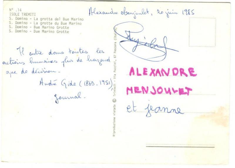 Italy, ISOLE TERMITI, Domino, La grotta del Bue Marino, 1985 used Postcard