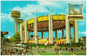 New York State Exhibit and Greyhound Bus New York World's Fair 1964 Postcard