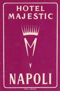 Italy Napoli Hotel Majestic Vintage Luggage Label sk2316