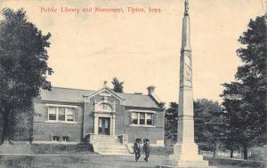 Tipton Iowa~Couple of Civil War? Veterans Walk by Monument~Carnegie Library 1909