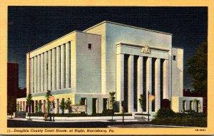 Pennsylvania Harrisburg Dauphin County Court House At Night Curteich