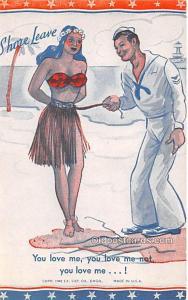 Military Comic Postcard, Old Vintage Antique Post Card You Love Me Unused
