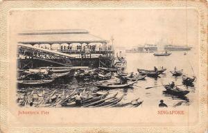 Embossed Singapore Johnston's Pier Canoe Boats, Ship 1909