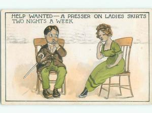 Pre-Linen comic CUTE GIRL SITTING WITH GUY k3640