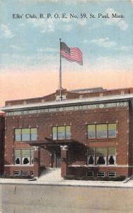 St Paul Minnesota Elks Club BPOE No. 59 Exterior View Antique Postcard J76313