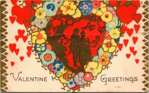 RARE Vintage Gold ART  Valentine GREETINGS  Postcard Heart DECO NOUVEAU