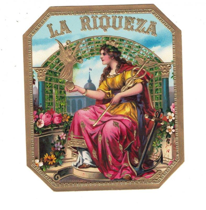 HI1061   CIGARBOX LABEL SET LA RIQUEZA  BEAUTIFUL WOMAN NEXT TO ANCHOR