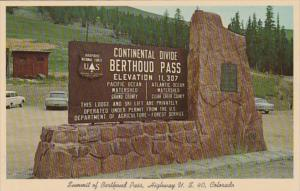 Colorado Continental Divide Sign Berthoud Pass Highway U S 40