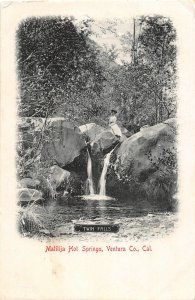 F81/ Matilija Hot Springs California Postcard 1910 Ventura Twin Falls Woman