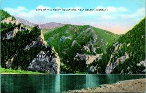 Vtg Linen Postcard Helena Montana MT Gate of the Rocky Mountains - Unused