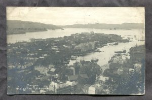 dc117 - NORWAY Bergen 1909 Panoramic View. Real Photo Postcard