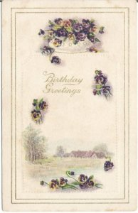 Delicate purple pansies accent this beautiful Vintage Postcard Country Meadow