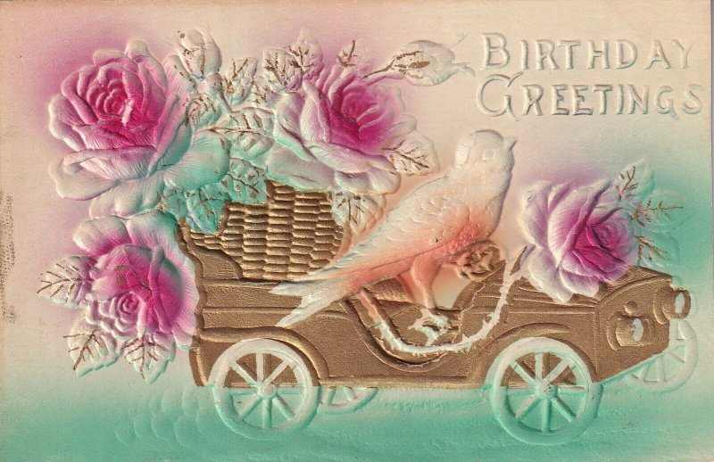 BIRTHDAY, 1900-10s; Greetings, Sparrow driving Gold car, Red Roses