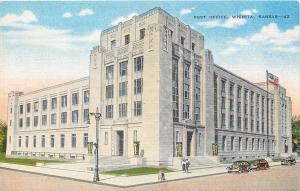 Wichita Kansas~Post Office~ART-DECO Building~1940s Postcard