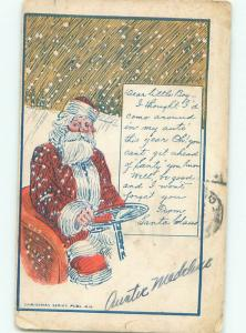 Pre-Linen Christmas SANTA CLAUS GRABS THE STEERING WHEEL OF OLD CAR AB4898