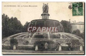Old Postcard Aix en Provence Monumental Fountain