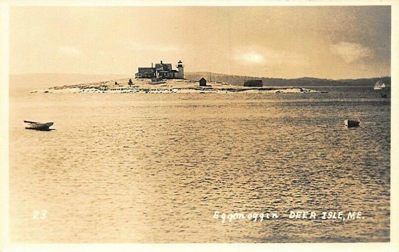 Deer Isle ME Eggemoggin Lighthouse Boats Real Photo Postcard
