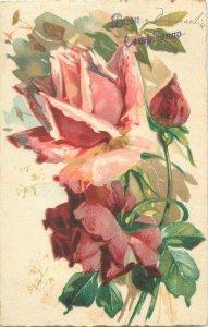 Postcard rose flower C. Klein style fantasy greetings