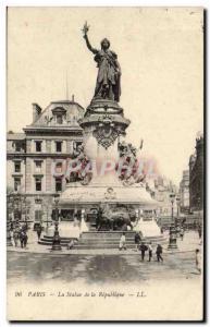 Paris Old Postcard Statue of the Republic