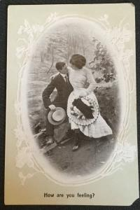 """Vintage Postcard Unused """"How are you feeling"""" Embossed Couple LB"""