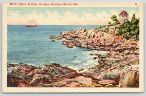 Portland Harbor Maine~Rocky Shore @ Cape Cottage~Gazebo on Point~Ship~1940 Linen