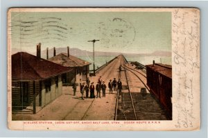 Ogden UT-Utah, Great Salt Lake, Midlake Train Station, Vintage c1906 Postcard