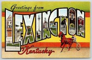Lexington KY~1940s Large Letter Linen~Harness Racing~Soldiers & Sailors Monument