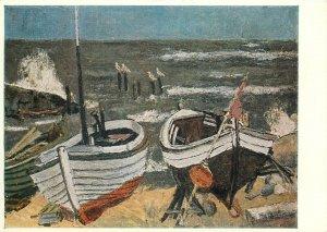 Postcard Painting Rosenhauer fishing boats on shore