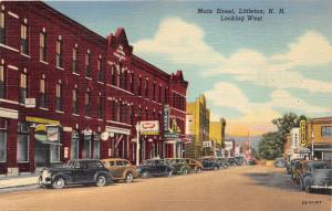Littleton New Hampshire~Main Street Looking West~Lots of Stores~Classic Cars~'48