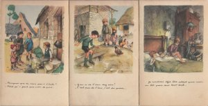 Lot 3 french artist signed POULBOT children comic humour hard cardboard cards